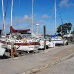 a sailboat dry docked